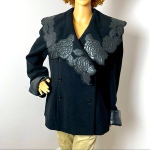 NewPort News Wool Coat Faux Leather Flowers Black